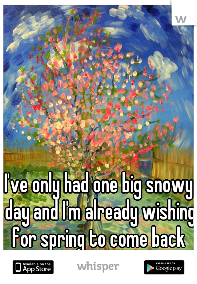 I've only had one big snowy day and I'm already wishing for spring to come back