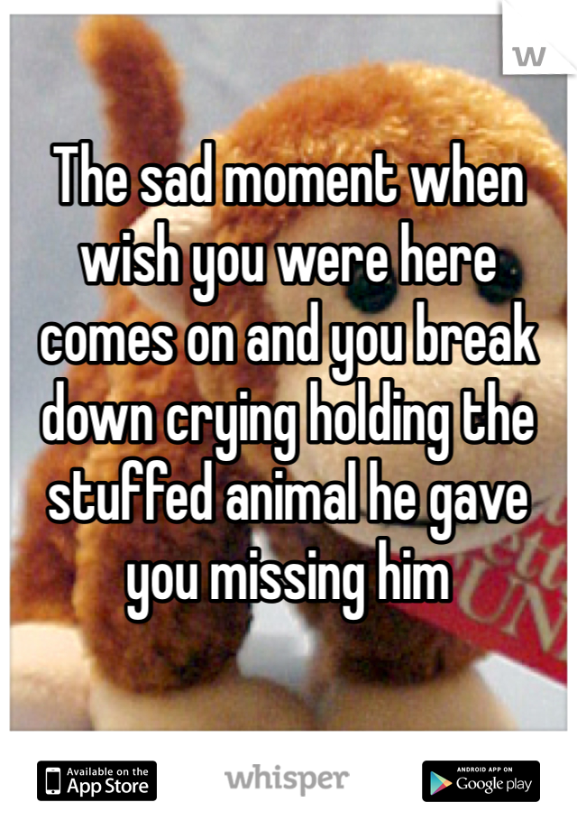 The sad moment when wish you were here comes on and you break down crying holding the stuffed animal he gave you missing him