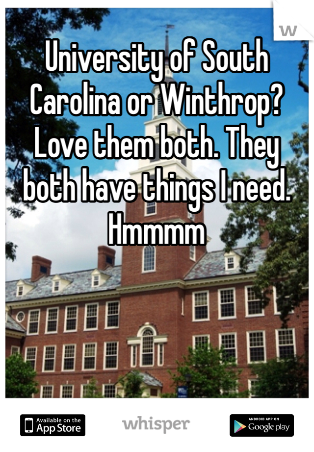 University of South Carolina or Winthrop? Love them both. They both have things I need. Hmmmm