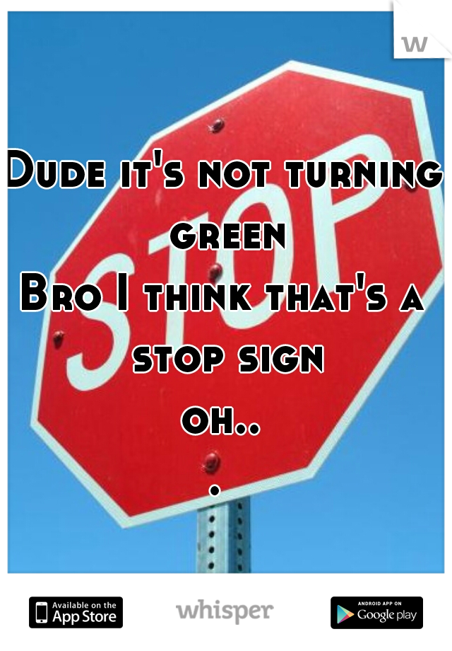 Dude it's not turning green Bro I think that's a stop sign oh...