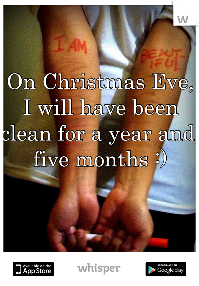 On Christmas Eve, I will have been clean for a year and five months :)
