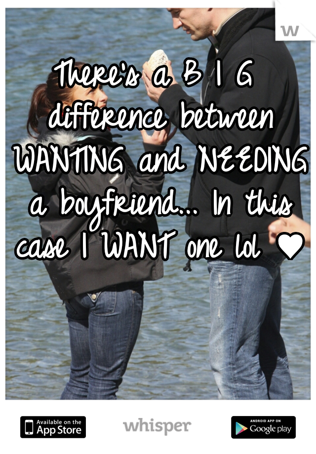 There's a B I G difference between WANTING and NEEDING a boyfriend... In this case I WANT one lol ♥