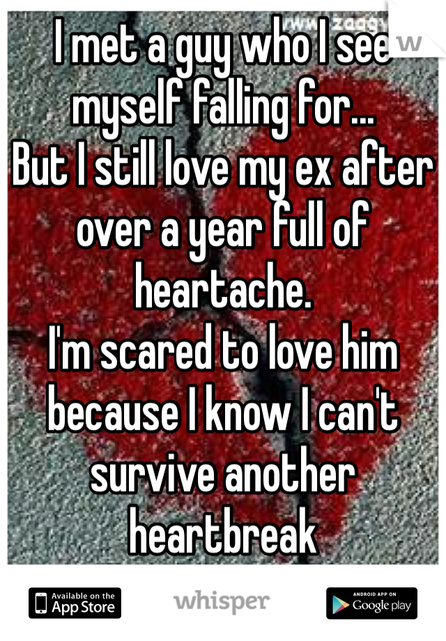 I met a guy who I see myself falling for...  But I still love my ex after over a year full of heartache. I'm scared to love him because I know I can't survive another heartbreak