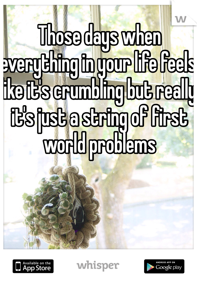 Those days when everything in your life feels like it's crumbling but really it's just a string of first world problems