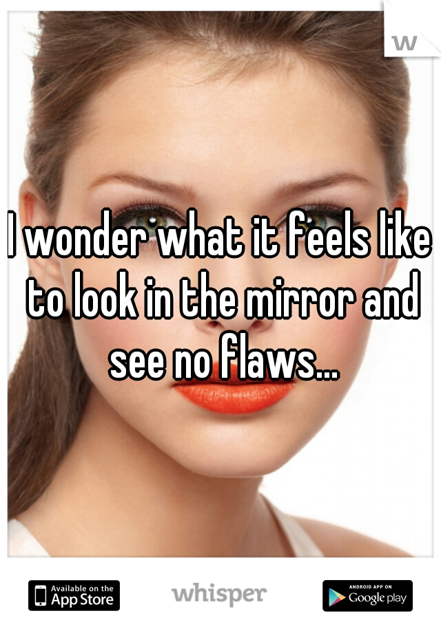 I wonder what it feels like to look in the mirror and see no flaws...