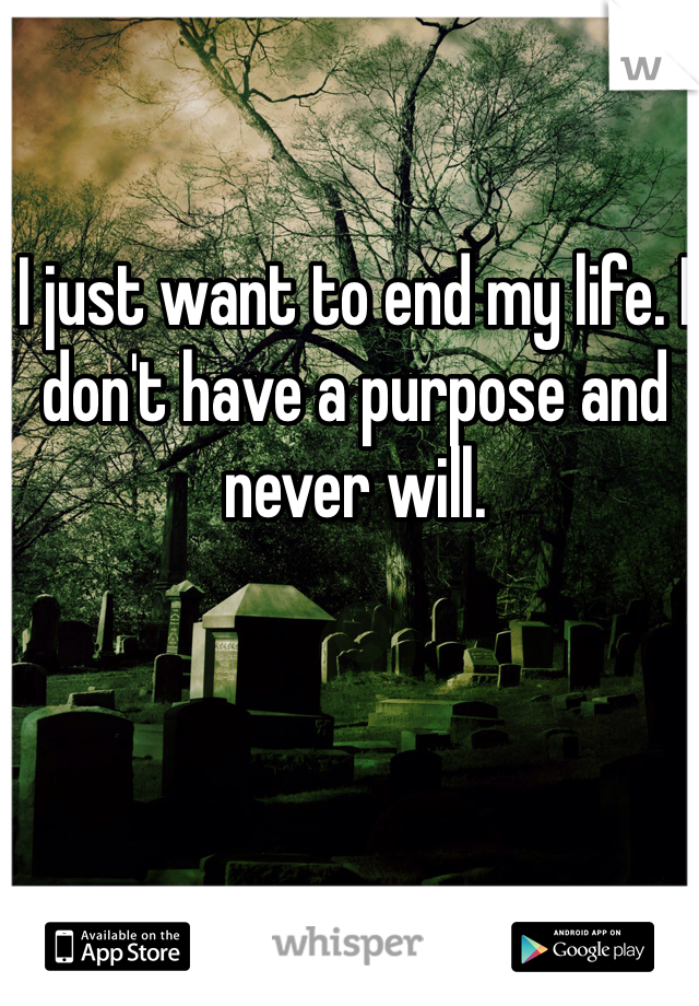 I just want to end my life. I don't have a purpose and never will.