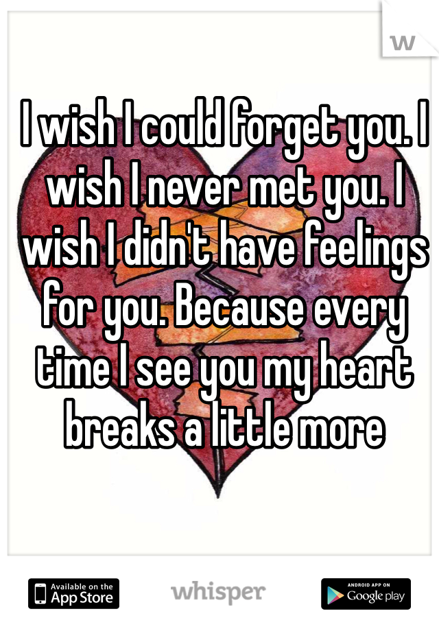 I wish I could forget you. I wish I never met you. I wish I didn't have feelings for you. Because every time I see you my heart breaks a little more