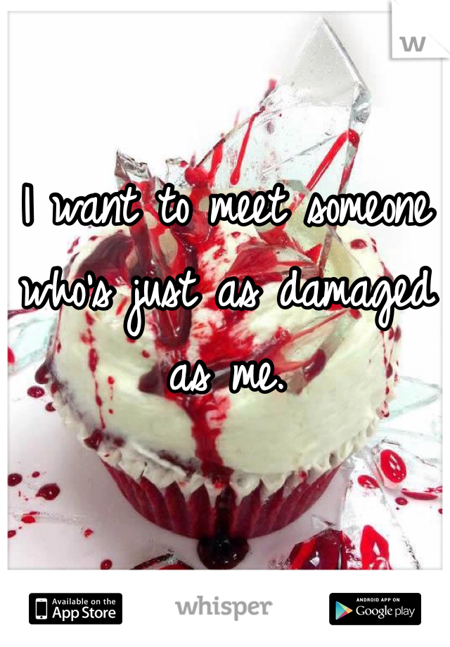 I want to meet someone who's just as damaged as me.