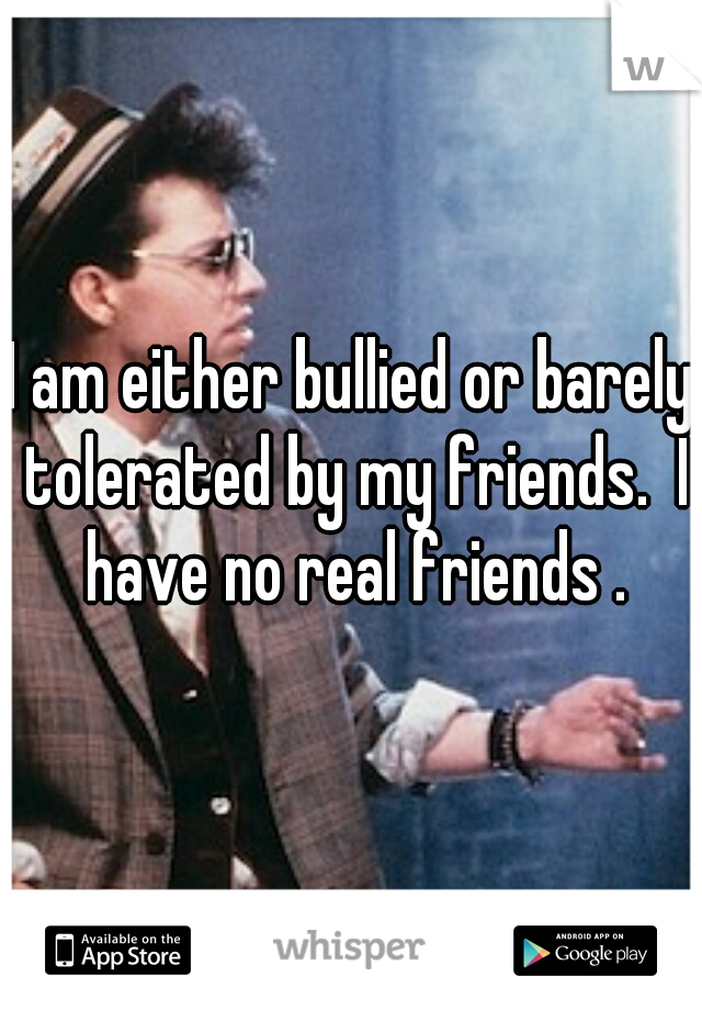 I am either bullied or barely tolerated by my friends.  I have no real friends .