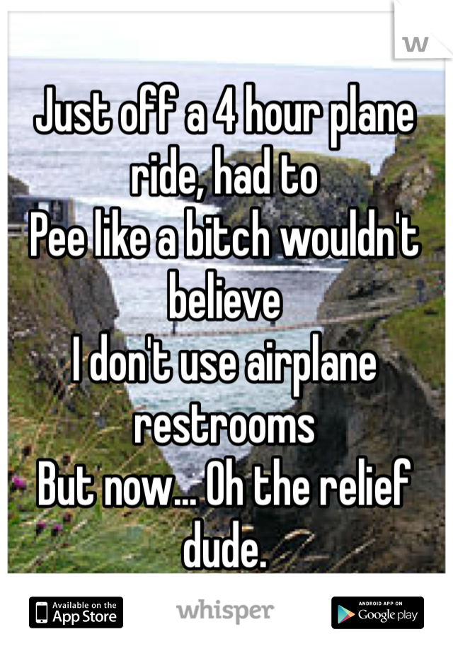 Just off a 4 hour plane ride, had to  Pee like a bitch wouldn't believe I don't use airplane restrooms  But now... Oh the relief dude.