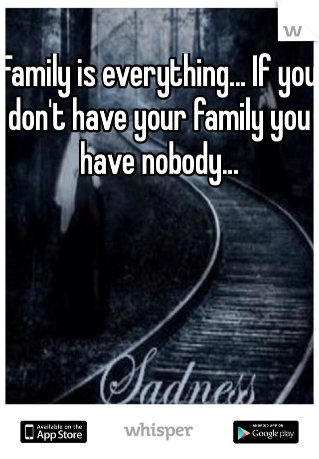 Family is everything... If you don't have your family you have nobody...