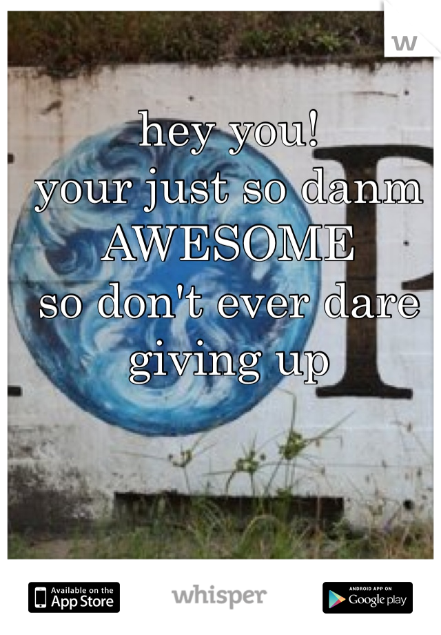 hey you!  your just so danm AWESOME so don't ever dare giving up