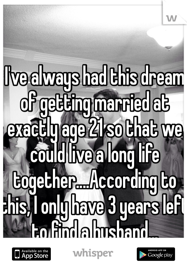 I've always had this dream of getting married at exactly age 21 so that we could live a long life together....According to this, I only have 3 years left to find a husband...