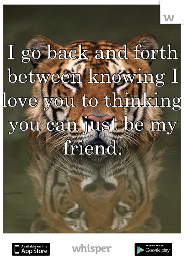 I go back and forth between knowing I love you to thinking you can just be my friend.