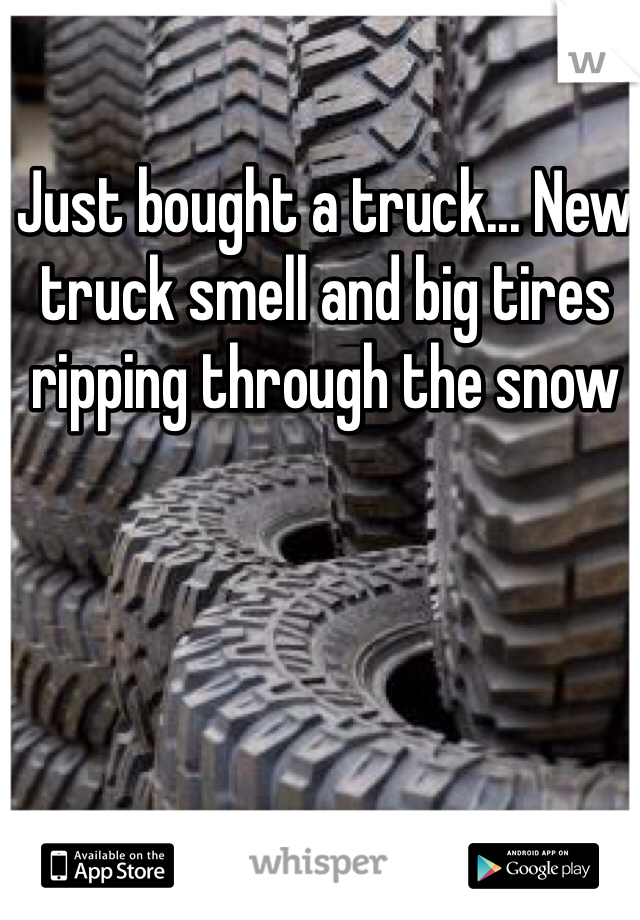 Just bought a truck... New truck smell and big tires ripping through the snow