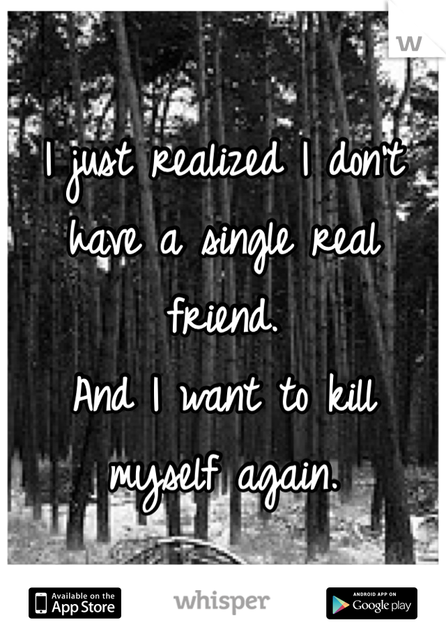 I just realized I don't have a single real friend.  And I want to kill myself again.