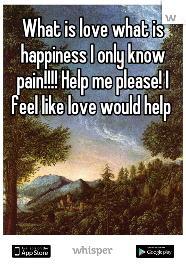 What is love what is happiness I only know pain!!!! Help me please! I feel like love would help