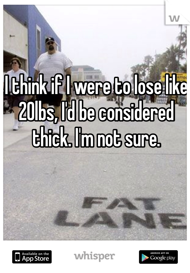 I think if I were to lose like 20lbs, I'd be considered thick. I'm not sure.