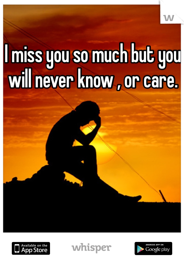 I miss you so much but you will never know , or care.