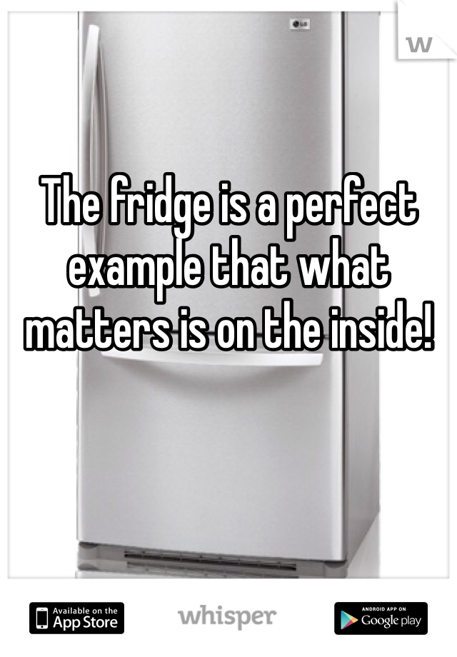 The fridge is a perfect example that what matters is on the inside!