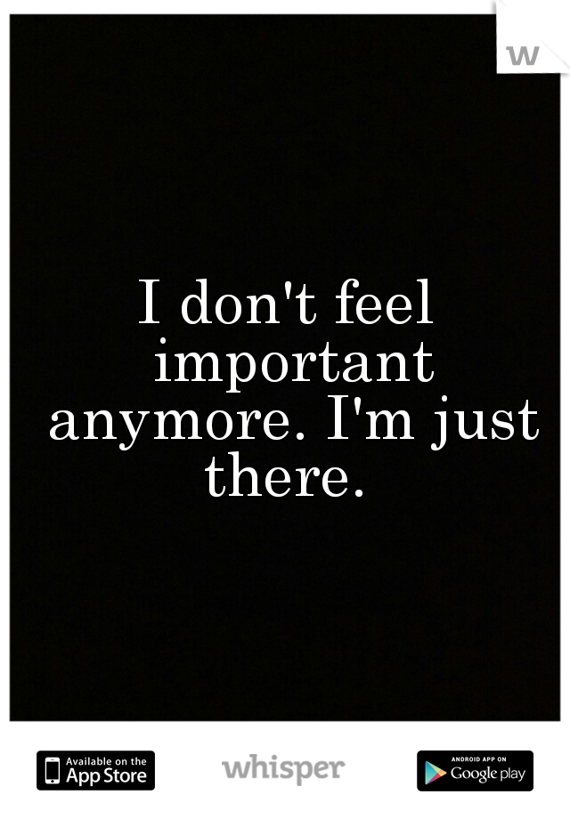 I don't feel important anymore. I'm just there.