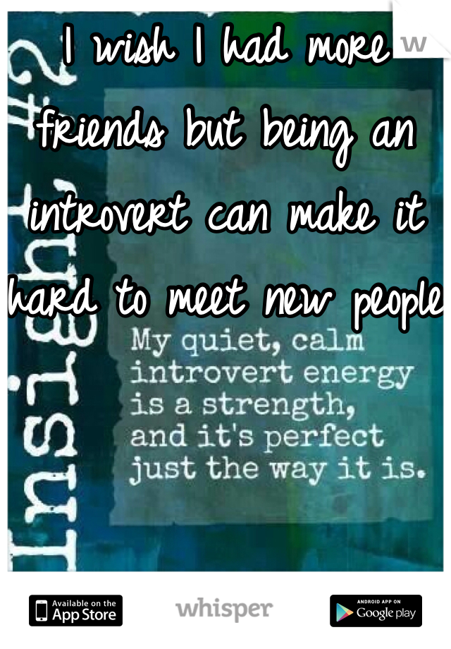 I wish I had more friends but being an introvert can make it hard to meet new people