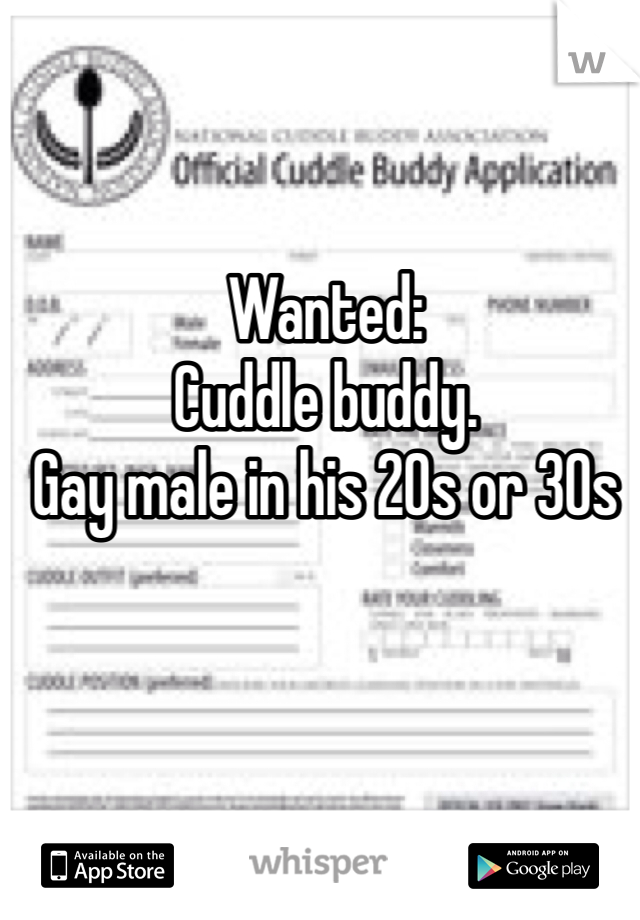 Wanted: Cuddle buddy.  Gay male in his 20s or 30s