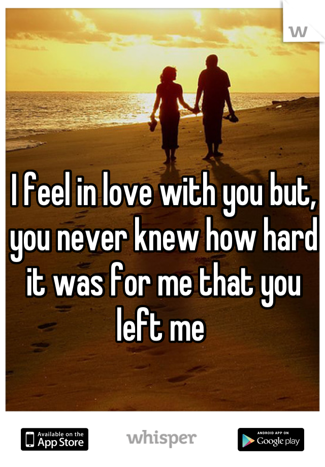I feel in love with you but, you never knew how hard it was for me that you left me