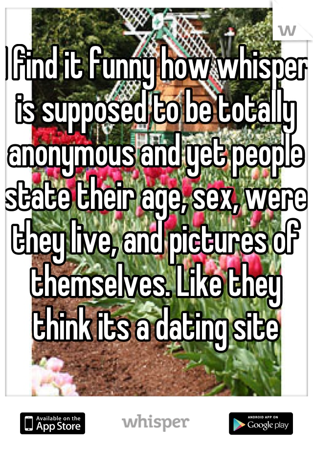 I find it funny how whisper is supposed to be totally anonymous and yet people state their age, sex, were they live, and pictures of themselves. Like they think its a dating site