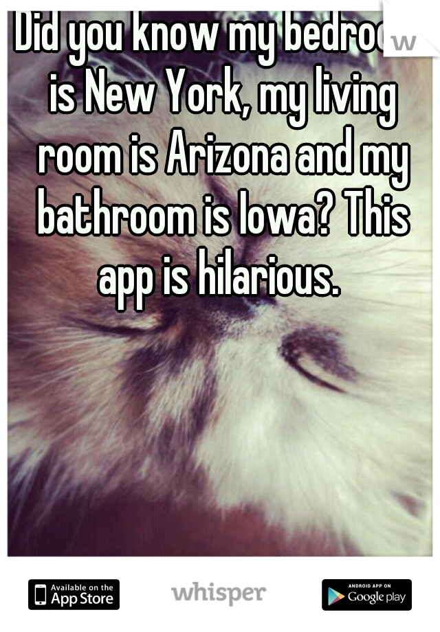 Did you know my bedroom is New York, my living room is Arizona and my bathroom is Iowa? This app is hilarious.