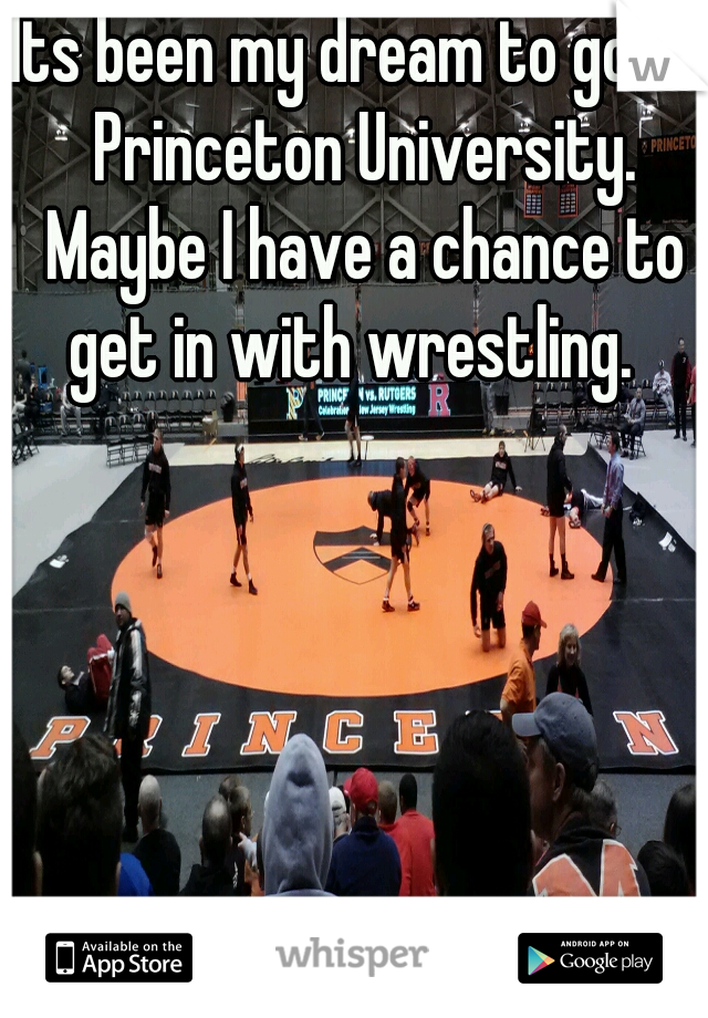 Its been my dream to go to Princeton University. Maybe I have a chance to get in with wrestling.