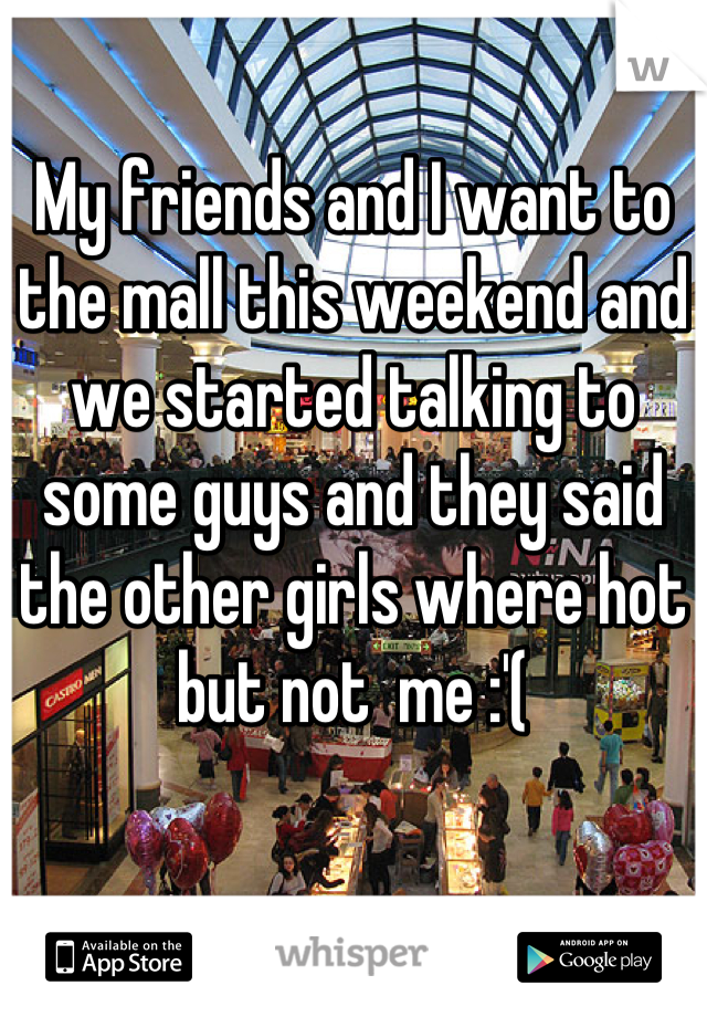 My friends and I want to the mall this weekend and we started talking to some guys and they said the other girls where hot but not  me :'(