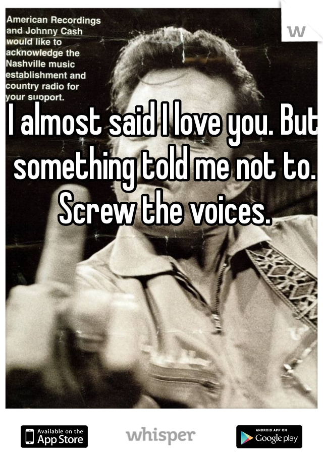 I almost said I love you. But something told me not to. Screw the voices.