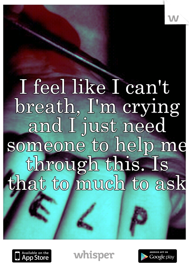 I feel like I can't breath, I'm crying and I just need someone to help me through this. Is that to much to ask?