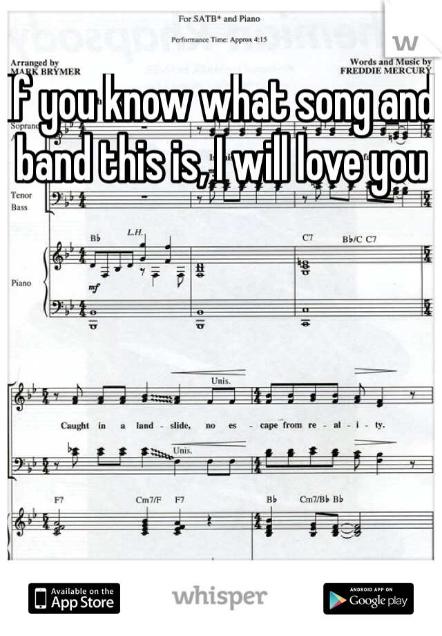 If you know what song and band this is, I will love you