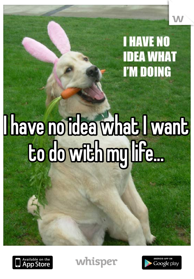 I have no idea what I want to do with my life...
