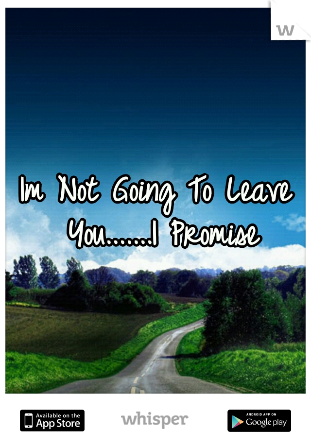 Im Not Going To Leave You.......I Promise