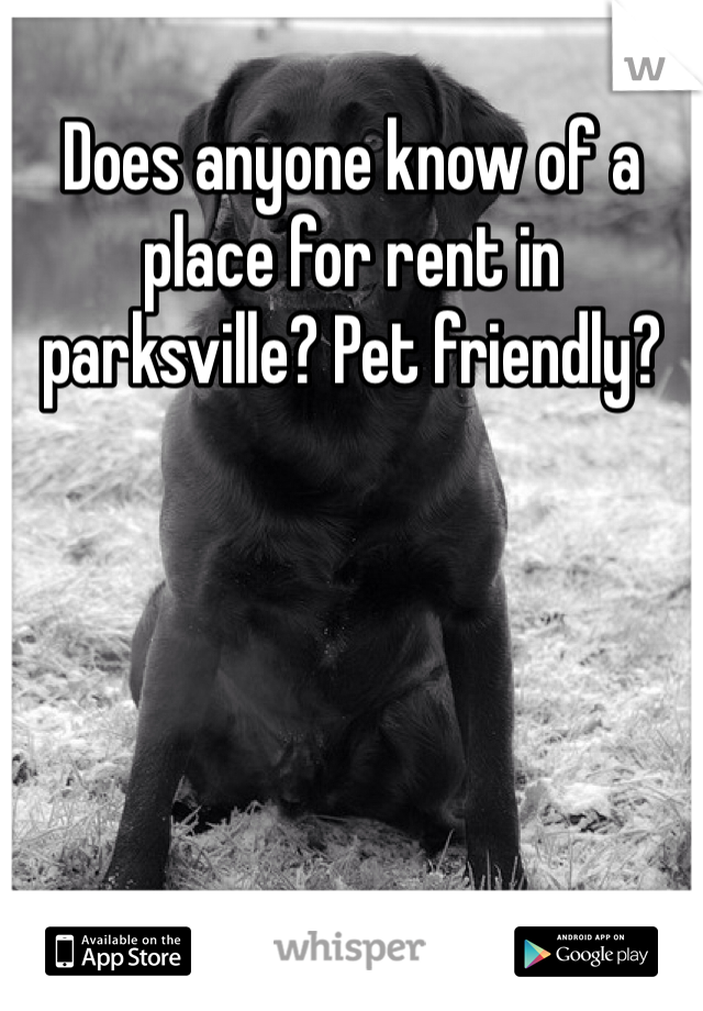 Does anyone know of a place for rent in parksville? Pet friendly?