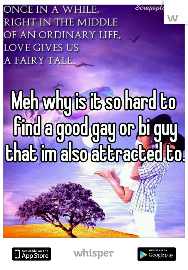 Meh why is it so hard to find a good gay or bi guy that im also attracted to.