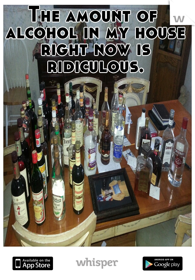 The amount of alcohol in my house right now is ridiculous.