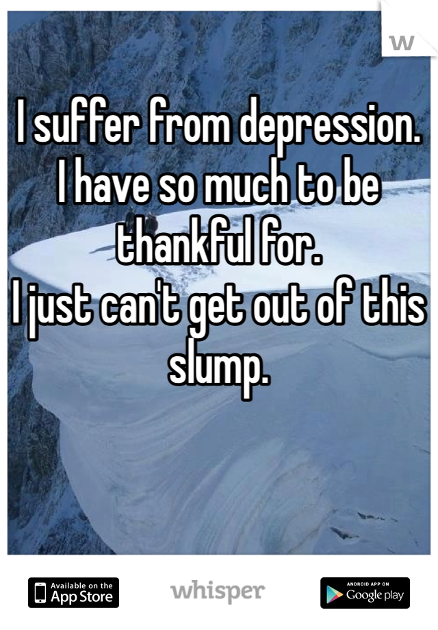 I suffer from depression.  I have so much to be thankful for.  I just can't get out of this slump.