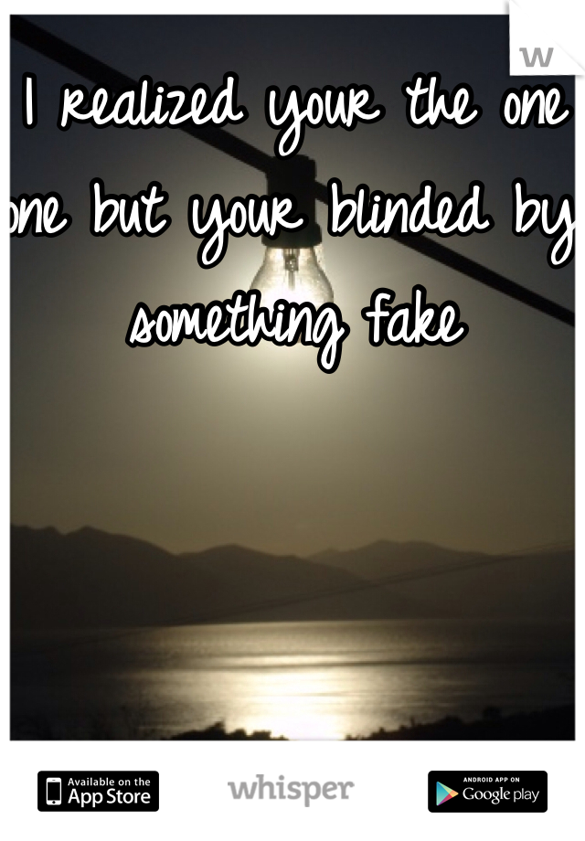I realized your the one one but your blinded by something fake