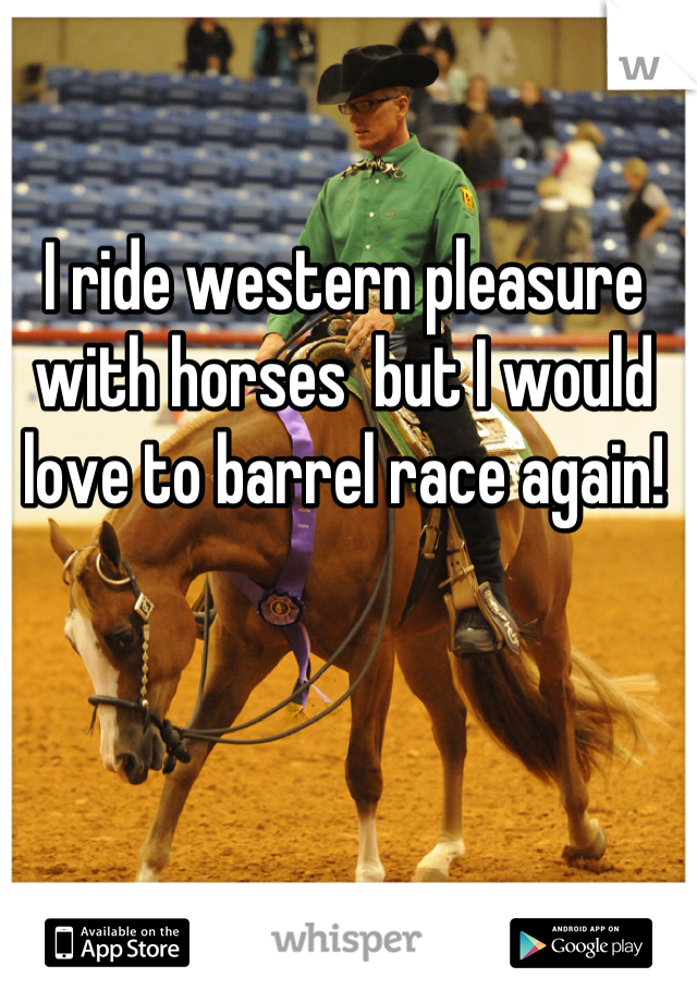 I ride western pleasure with horses  but I would love to barrel race again!