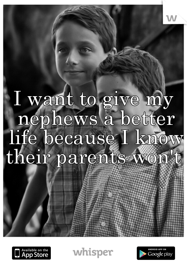 I want to give my nephews a better life because I know their parents won't