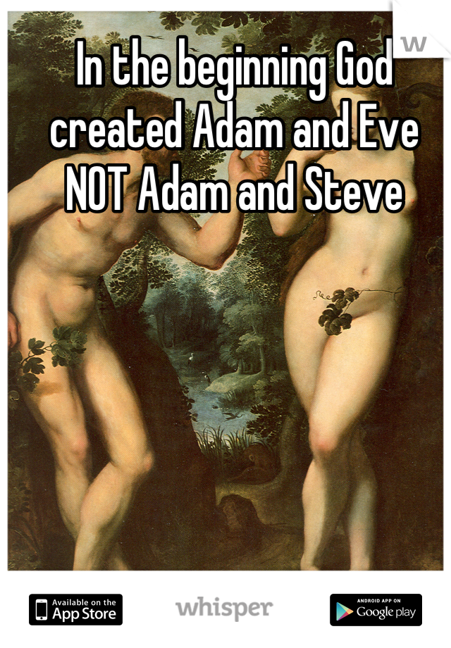 In the beginning God created Adam and Eve NOT Adam and Steve