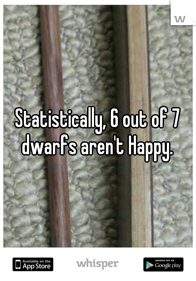 Statistically, 6 out of 7 dwarfs aren't Happy.