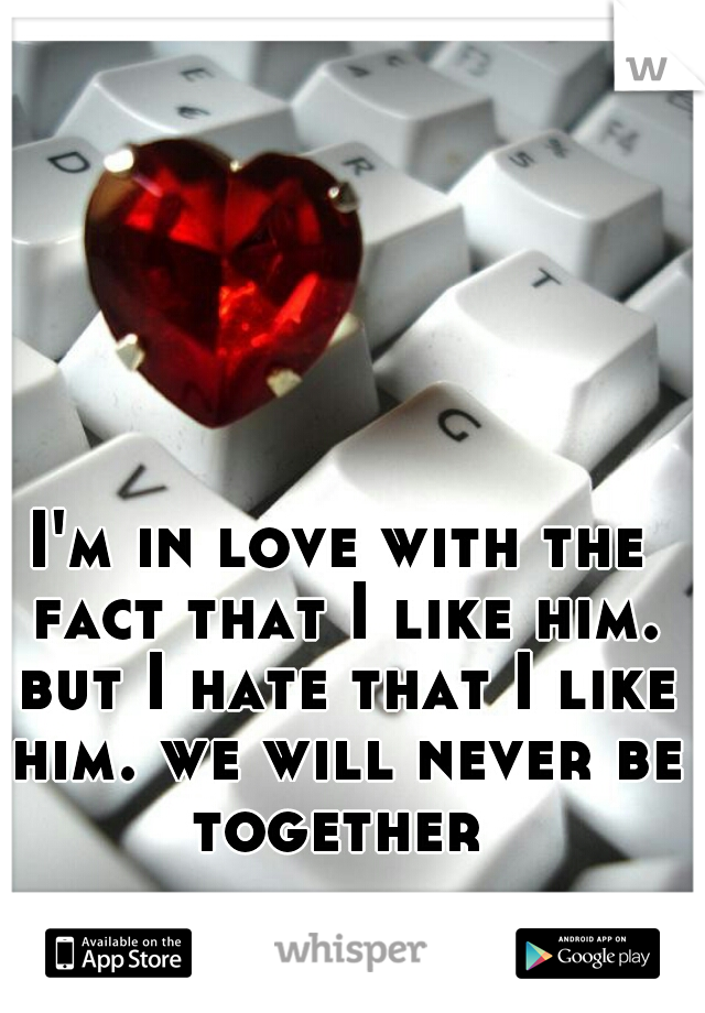 I'm in love with the fact that I like him. but I hate that I like him. we will never be together