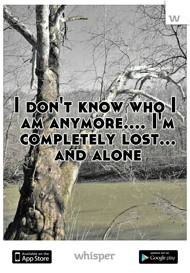 I don't know who I am anymore.... I'm completely lost... and alone
