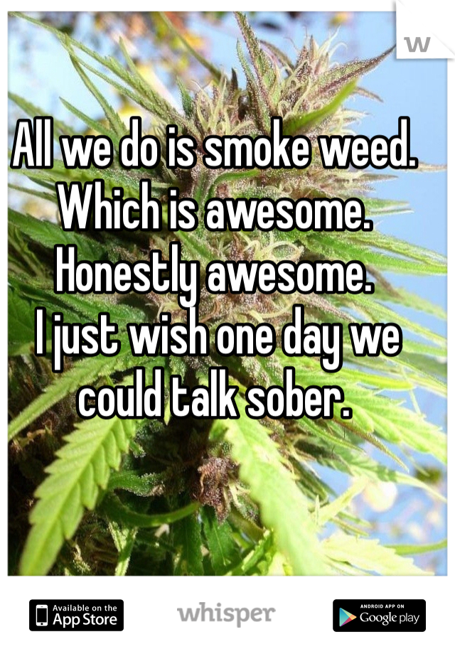 All we do is smoke weed. Which is awesome. Honestly awesome.  I just wish one day we could talk sober.