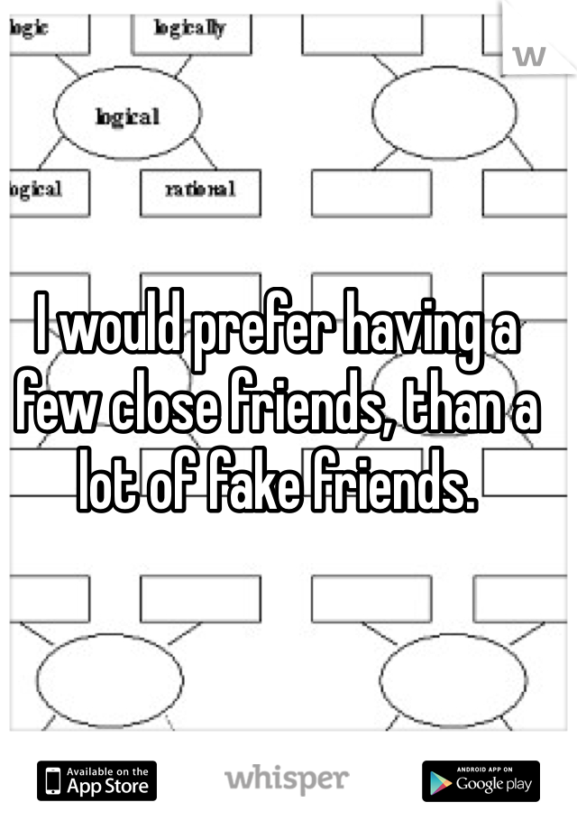 I would prefer having a few close friends, than a lot of fake friends.